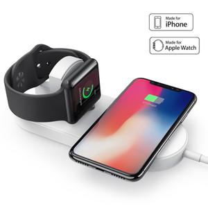 Ultra-ince 2 in 1 Qi Kablosuz Şarj Pedi Apple İzle Serisi 1/2/3, iPhone X / 8 için Apple Watch Şarj Standı