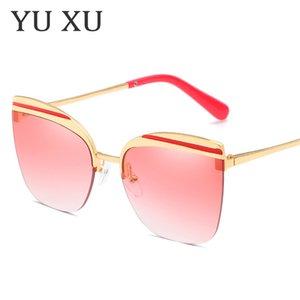 Yu Xu yeni moda kedi gözler yarım çerçeve güneş gözlüğü kadın kişilik kaş çerçeve güneş gözlüğü erkekler trend metal güneş gözlüğü H119
