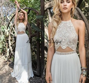 Keyhole Crochet Lace Chiffon Bohemian Wedding Dresses 2018 Inbal Raviv Flowing Flare Greek Goddless Holiday Beach Vestido de novia barato