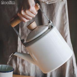 NOOLIM Japon Emaye Su Isıtıcısı Soğutucu Kettle Pot Çiçek Demlik Düz Indüksiyon Ocak Mutfak Ürün Üzerinde Kullanımı