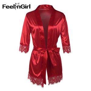 Feelingirl 2018 Avrupa ve Amerika Kadınlar İpek Elbise Elbise Lingerie Babydoll Gecelik Gecelik Pijama-E
