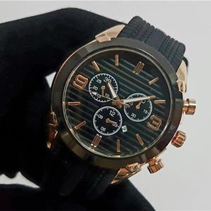 Relogio 44mm kol saati yüksek kalite mens Tasarımcı saatler top marka lüks kauçuk İzle erkekler Otomatik tarih siyah gün büyük patlama kuvars saat