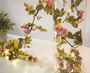 2 м 20 светодиодов цветок листьев гирлянда батареи работают медные светодиодные фея огни строки для Рождество свадебные украшения партии событие