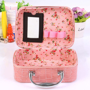 Women's Lady Travel Leather Makeup Bags Cosmetic Case Handbag Purses Cosmetic Gift Purse Colorful Good Quality