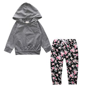 2017 2 peças Bebê recém-nascido meninas mangas compridas camisa com capuz Casacos Tops + calças Florais roupas Bebek conjunto de roupas