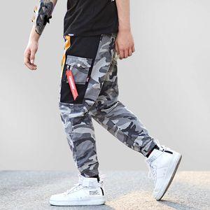 Harajuku Hip Hop Pantolon Erkekler Baggy Harem Pantolon Patchwork Gri Kamuflaj Pantolon Swag Cep Rahat Tatical Kargo Pantolon Streetwear