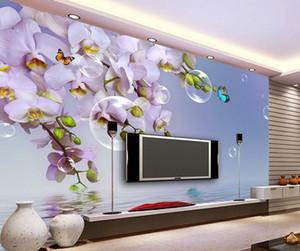 Tapete für Wände 3 d für Wohnzimmer Fantasy Phalaenopsis Blase Blume Schmetterling Reflexion TV Hintergrund Wand