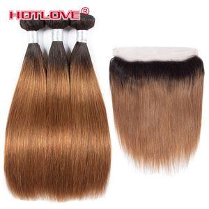Frontal Closure가 적용된 Ombre Bundles Peruvian Straight Human Hair 위브 번들 13 * 4 Front Two Tone Color T1B / 30 27 99J 부르고뉴