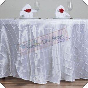 BLANC 305CM ronde TABLE COUVERT Livraison gratuite Pintuck Taffetas nappes treillis Rectangle table étendre couverture pour la décoration de mariage