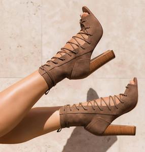 أحذية الخريف POADISFOO المرأة أحذية نسائية أحذية باردة 2018 أوائل الخريف جديد فم السمكة عبر الدانتيل عالية الكعب .ZL-516-12