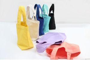 Wholesale and retail 2018 Plain white cotton canvas small cloth bag Lunch box bag
