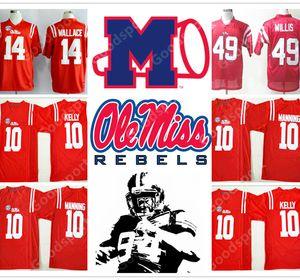 Dikişli NCAA Ole Miss İsyancılar Koleji Barry Sanders Eli Manning 10 Çad Kelly 10 Patrick Willis 49 Bo Wallace 14 Futbol formaları bize spor