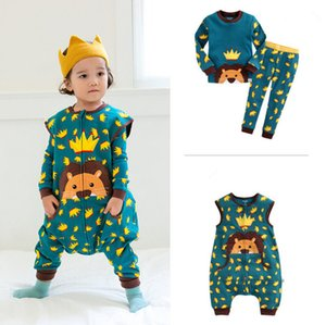 PROSEA 3 unids / set Cartoon Lion Dinosaur Rabbit Cat Niños Set de pijama Baby Boys Girls Chaleco Sleeping Bag + T shirt + Pants Set, Homewear ropa de dormir