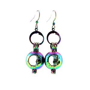 Z299 Rainbow Color Cute Moon Beauty Pearl Cage Earrings Hooks with 8mm Plastic Beads Girl's Gift