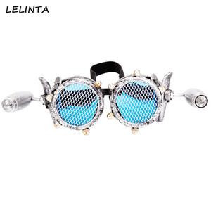 LELINTA Blue Objektive Gläser Steampunk Goggles mit zwei Lichtern Rave Festival Party EDM Brille Cosplay Punk Vintage Glas Eyewear