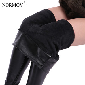 NORMOV XS-5XL Inverno Plus Size couro Leggings Mulheres Calças de cintura alta Quente Leggings de veludo grosso Mulheres Leggins Push Up Legging