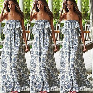 Оптово-2018 Очень популярный новый сексуальный Женщины партии Цветочные платья пляжа Boho Off плеча Maxi длинное платье для красивой девушки и женщины