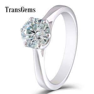 TransGems 10K White Gold Center 1ct Anello di fidanzamento 6.5 MM Diametro 8 Cuore e Frecce Tagliate Leggero Moissanite Blu per Le Donne Regalo S923