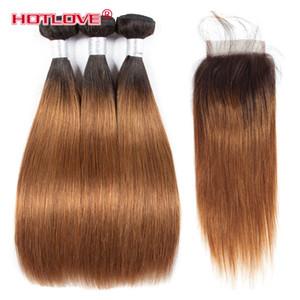 Бразильские волосы Ombre прямые волосы 3 пучка с кружевом закрытие 4 * 4 двухцветный цвет T1b / 30 темные корни коричневый Ombre прямые 4 шт. / Лот