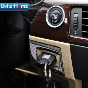 Toptan bmw e90 e92 e93 Karbon Fiber Anahtar Deliği Koruma Daire Kontak Anahtarı Dekorasyon Daire 2005-2012 3 Serisi Araba styling
