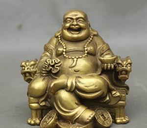 Chino Brass Sit Dragon Silla Riqueza Dinero Feliz Risa Maitreya Buddha Statue