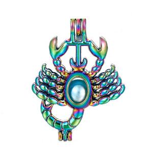 5 pcs Rainbow Color Alloy Rainbow Gaiola de Pérolas Pingentes Animal Escorpião Aromaterapia Jóias Colar de Jóias DIY C176