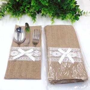 Recipiente para cubiertos de arpillera elegante lamentable de la vendimia Yute encaje Vajilla bolsa de embalaje Tenedor cuchillo de bolsillo de textiles para el hogar Decoración HH7-1381
