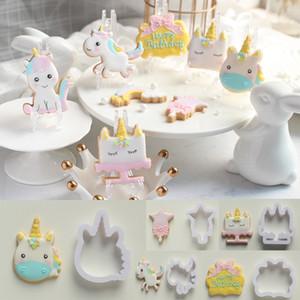 Résaisable Gaufrage Gaufrage Moule En Plastique Licorne Cookie Cutter Biscuit Moules Sécurité Gâteau Outils De Cuisson Vente Chaude 6ck BB