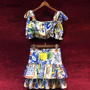Svoryxiu pista de algodón de verano conjunto de dos piezas de las mujeres del arco de la honda Tops cortos + faldas volantes pintado traje de falda de cerámica impresa