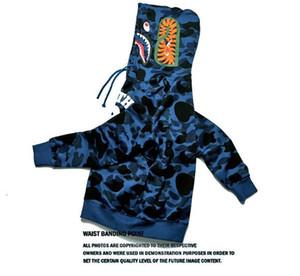 2017 barato nuevo invierno sudadera con capucha de los hombres un baño AAPE Ape tiburón con capucha sudadera con capucha abrigo Camo Zip completo chaqueta de camuflaje sudaderas con capucha caliente