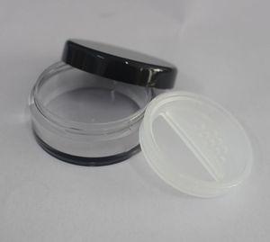 30 adet plastik boş 10g gevşek toz kavanoz ile büküm dönen elek Boş Kozmetik Konteyner Siyah Mat Kap Makyaj Kompakt ücretsiz kargo