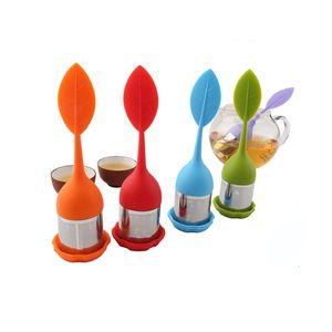 Loose Leaf Tea Infuser Food Grade Silicone Hndle Stainless Steel Strainer Herbal Spice Tea Infuser Filter