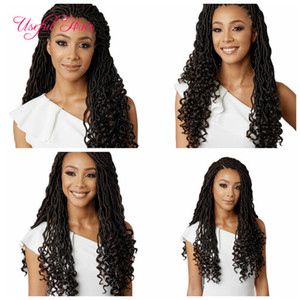 Crochet Goddess Locs Hair Extensions Faux Locs Curly 18inch half wave hald curl Crochet Braids Ombre Kanekalon Braiding Hair Bohemian locks