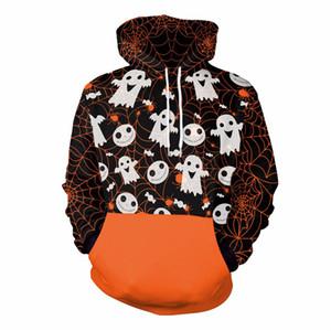Super Cute Halloween Ghost Pumkin Spider Web Printed Sweatshirt Hoodie Funny Men Patchwork Halloween Costum Clothes Dropship