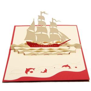 Nuovi biglietti di auguri creativi per barche a vela Kirigami Origami 3D Pop UP Greeting Card Biglietto da visita regalo di compleanno