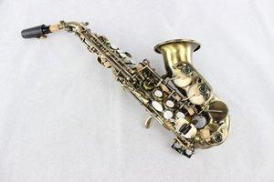 Небольшой изгиб шеи MARGEWATE сопрано саксофон латунь античная медь поверхность B плоские музыкальные инструменты саксофон с футляром и мундштук