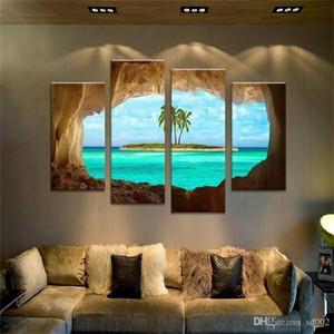 Ameublement Restaurant Salon Porche Pulvérisation Peinture Peintures à l'huile Quadruple paysage marin exquis petit facile transporter 40 4jm2 cc