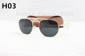 1 de Pcs Top Homens de qualidade óculos de sol unisex Estilo dobradiças metálicas UV400 Flash Lente Praça Vintage Oculos De Sol Masculino 3648 Com Caso Box