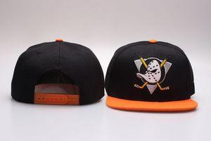 Men's Black Orange Anaheim Mighty Ducks Snapback Hats For Sale Team Logo Embroidery Sport Adjustable Ice Hockey Caps Hip Hop Flat Visor Hats