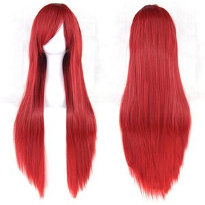 80 centimetri Super Long Straight Red Fringe Wig Extension per capelli completa Kylie Jenner Style