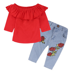 Girls horizontal neck outfits 2pc sets red flouncing long sleeve T shirt+rose flower printed jeans kids fashion retro clothing