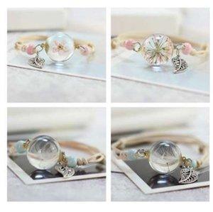 Nouveau Boho Vintage Charme Bracelet À La Main Réel Sec Fleur En Verre Boule Armure Réglable Bracelets Bracelet pour Femmes Mode