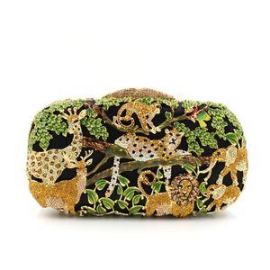 Dgrain Animal Jardim Zoológico Selva Tigre Veados de Metal Mulheres Noite de Cristal Saco de Embreagem Minaudiere Mágico Bolsa Caixa De Noiva De Luxo Festa de Casamento bolsa