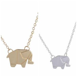 2018 New Wholesale Origami Elephant Geometric Origami Animal Elephant Necklace Woodland Elephant Animal Jewelry