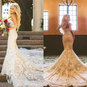 2019 Modest Mermaid Wedding Dresses Elegante Schatzspitze Brautkleider Plus Size Backless Herbst Arabisch Hochzeitskleid