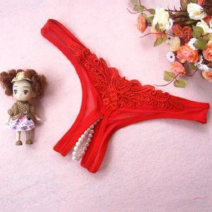 Sexy Underwear Pérola Lace Beading Calcinhas flor Bikini Thong G-corda T-back Calcinhas Briefs Das Senhoras Das Mulheres Lingerie Íntima