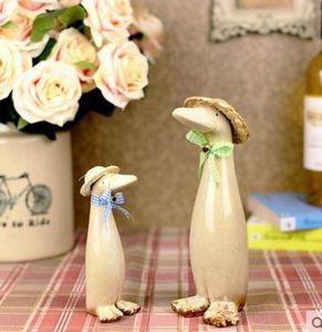 Keramik Eltern-Kind-Ente Familie Wohnkultur Handwerk Zimmer Dekoration Keramik Handwerk Ornament Porzellan Tierfiguren