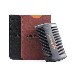 Peinture noire au pistolet peint bois poire Bluezoo à deux faces barbe portable résister à l'électricité statique peigne brosse en bois barbe
