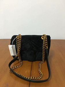 Klasik moda tek omuz çantası Avrupa ve Amerikan popüler marka messenger çanta yüksek kalite kadınlar altın polar yüz zinciri eğik bana