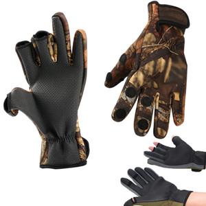 Gants de pêche sur glace en plein air coupés au chaud, chasse, plongée, tissu, anti-dérapant, gant de camping, demi-doigt, imperméables exposés aux doigts de pêche